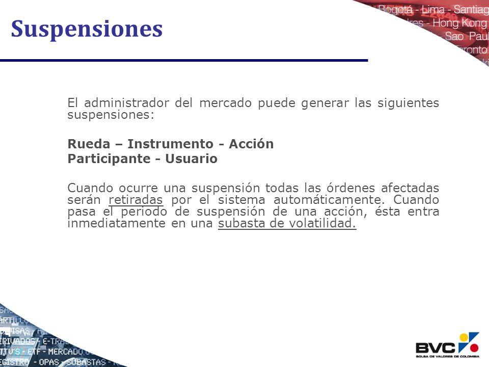 Suspensiones El administrador del mercado puede generar las siguientes suspensiones: Rueda – Instrumento - Acción.