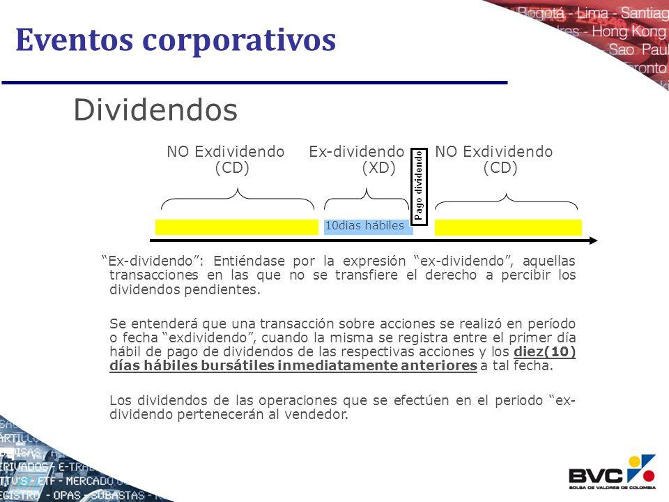 Eventos corporativos Dividendos NO Exdividendo (CD) Ex-dividendo (XD)