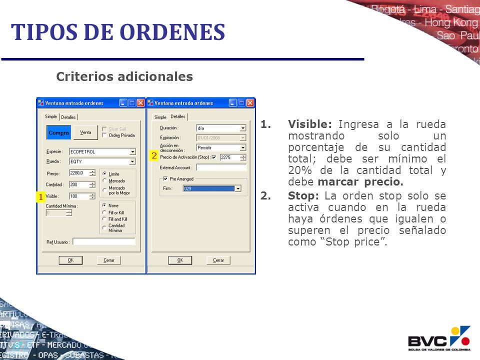 TIPOS DE ORDENES Criterios adicionales