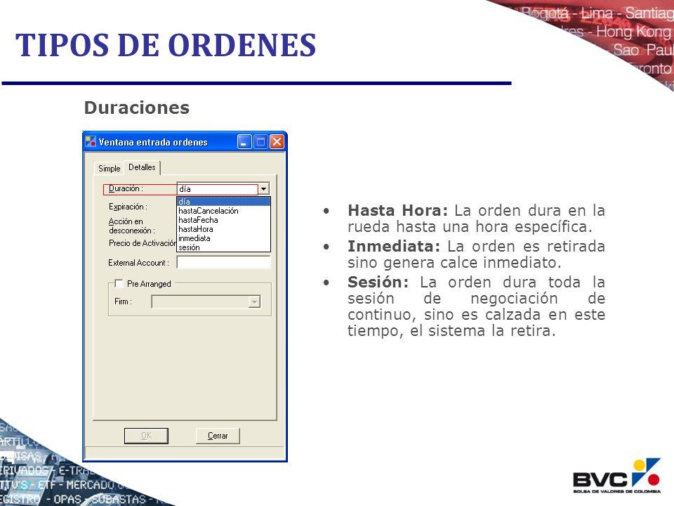 TIPOS DE ORDENES Duraciones