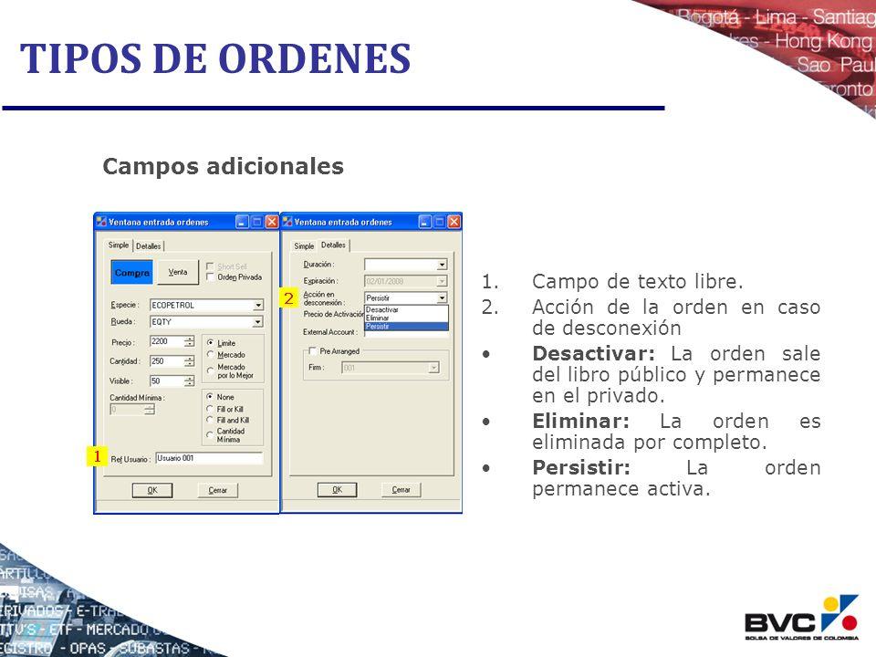 TIPOS DE ORDENES Campos adicionales Campo de texto libre.