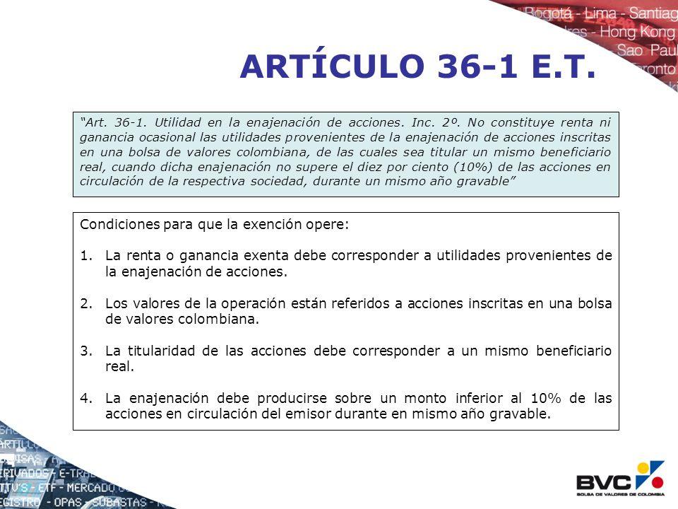 ARTÍCULO 36-1 E.T. Condiciones para que la exención opere: