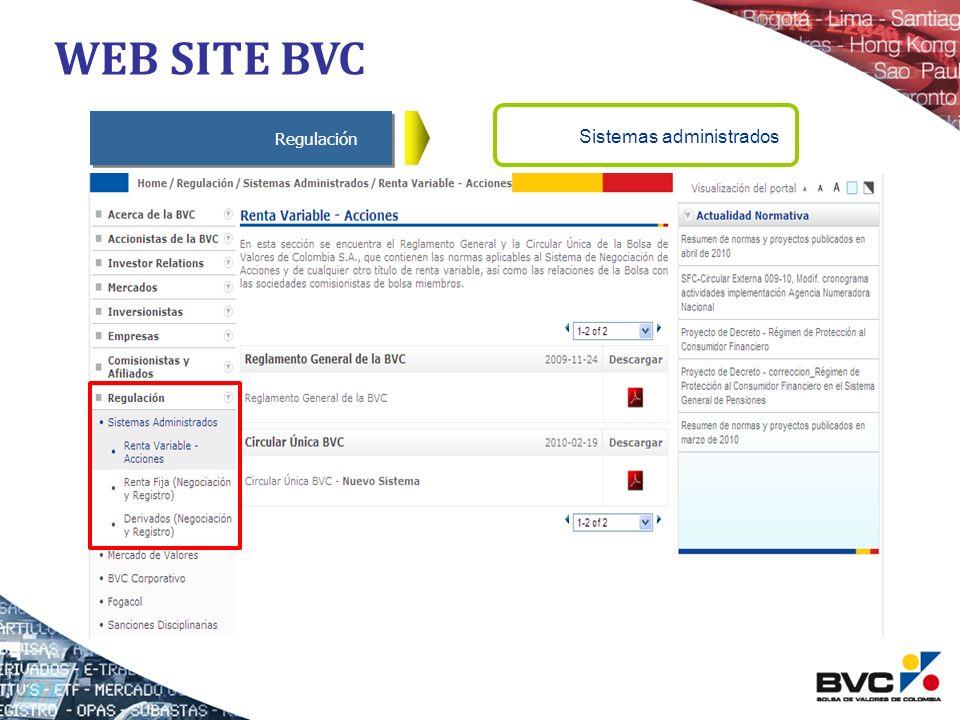 WEB SITE BVC Regulación Sistemas administrados