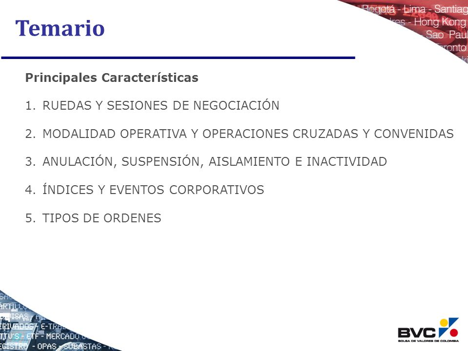 Temario Principales Características RUEDAS Y SESIONES DE NEGOCIACIÓN
