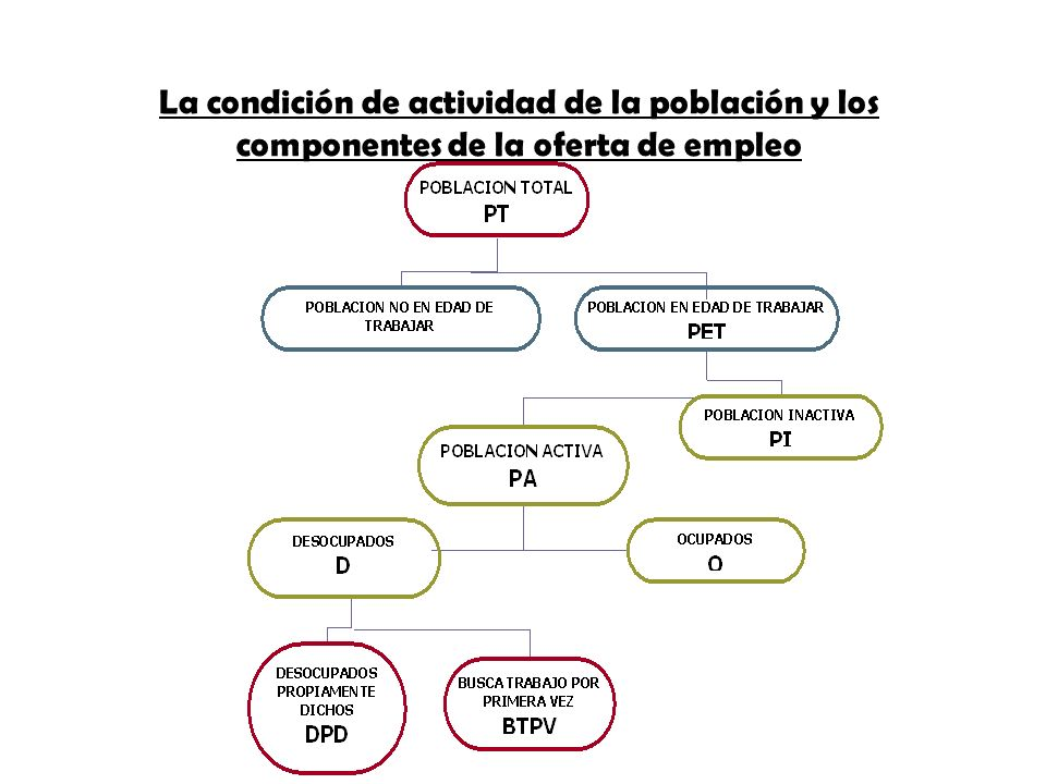 La condición de actividad de la población y los componentes de la oferta de empleo