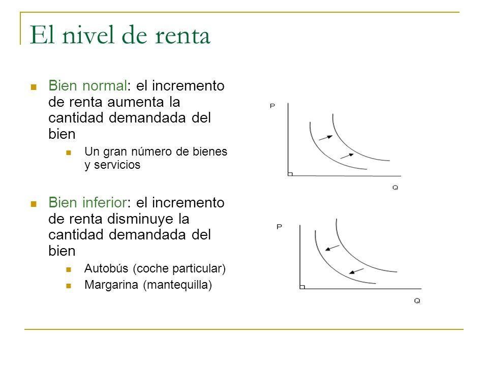 El nivel de renta Bien normal: el incremento de renta aumenta la cantidad demandada del bien. Un gran número de bienes y servicios.