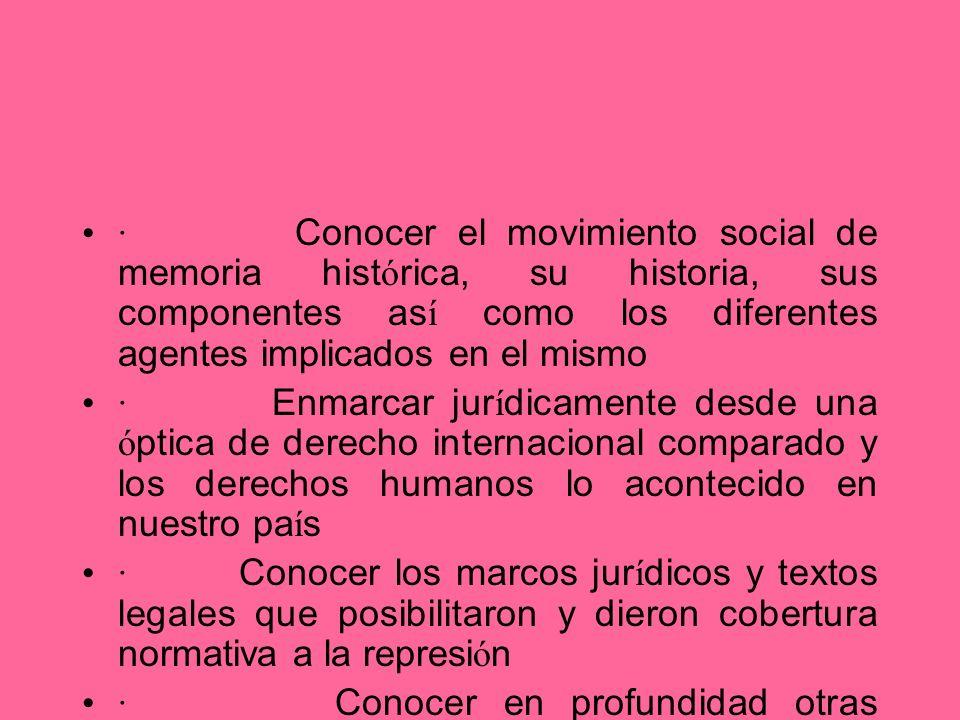 · Conocer el movimiento social de memoria histórica, su historia, sus componentes así como los diferentes agentes implicados en el mismo