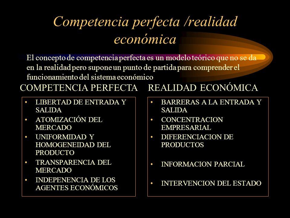 Competencia perfecta /realidad económica