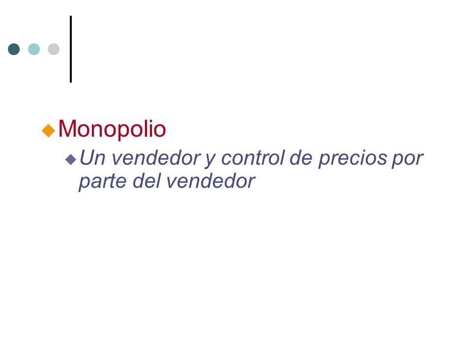 Monopolio Un vendedor y control de precios por parte del vendedor 6