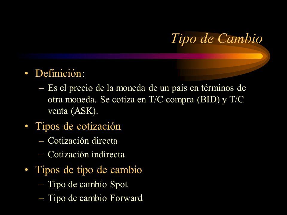 Tipo de Cambio Definición: Tipos de cotización Tipos de tipo de cambio