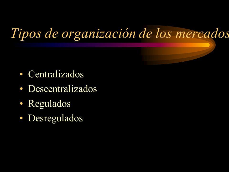 Tipos de organización de los mercados