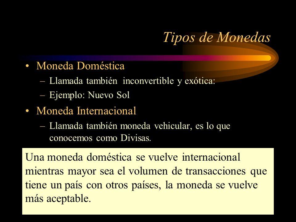 Tipos de Monedas Moneda Doméstica Moneda Internacional