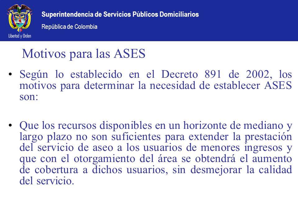 Motivos para las ASES Según lo establecido en el Decreto 891 de 2002, los motivos para determinar la necesidad de establecer ASES son: