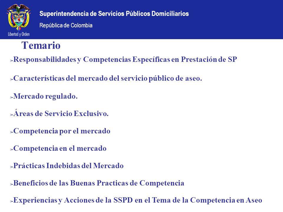 Temario Responsabilidades y Competencias Específicas en Prestación de SP. Características del mercado del servicio público de aseo.