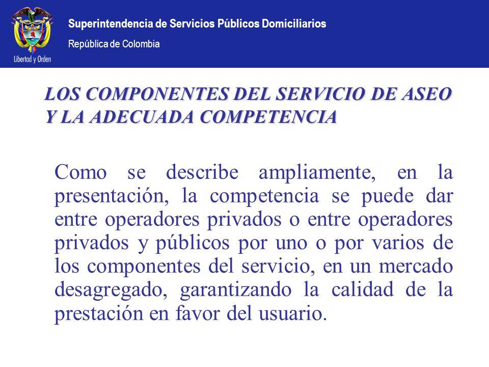 LOS COMPONENTES DEL SERVICIO DE ASEO Y LA ADECUADA COMPETENCIA