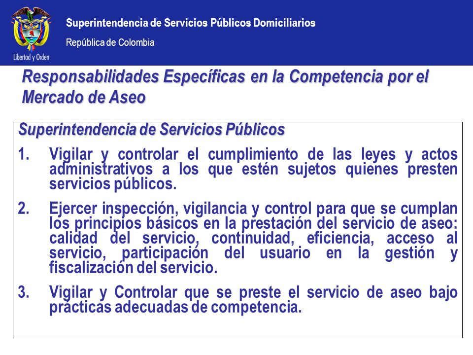 Responsabilidades Específicas en la Competencia por el Mercado de Aseo