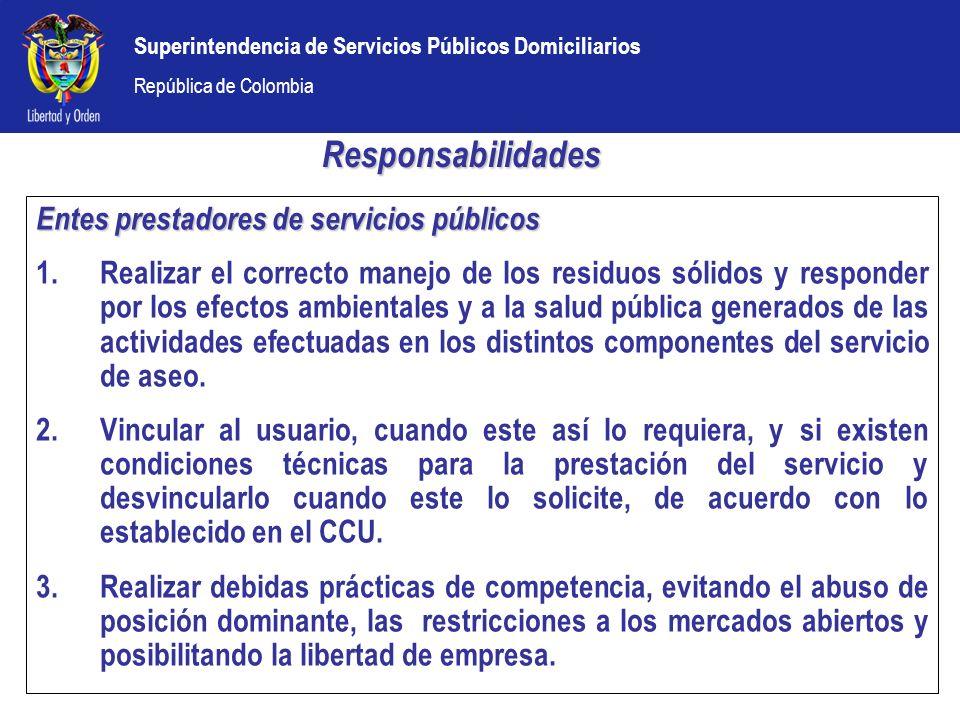 Responsabilidades Entes prestadores de servicios públicos