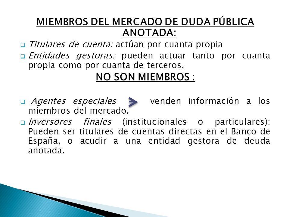 MIEMBROS DEL MERCADO DE DUDA PÚBLICA ANOTADA: