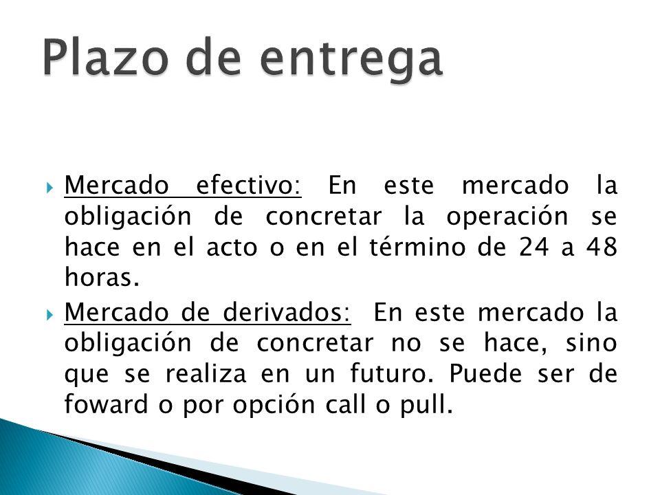 Plazo de entrega Mercado efectivo: En este mercado la obligación de concretar la operación se hace en el acto o en el término de 24 a 48 horas.