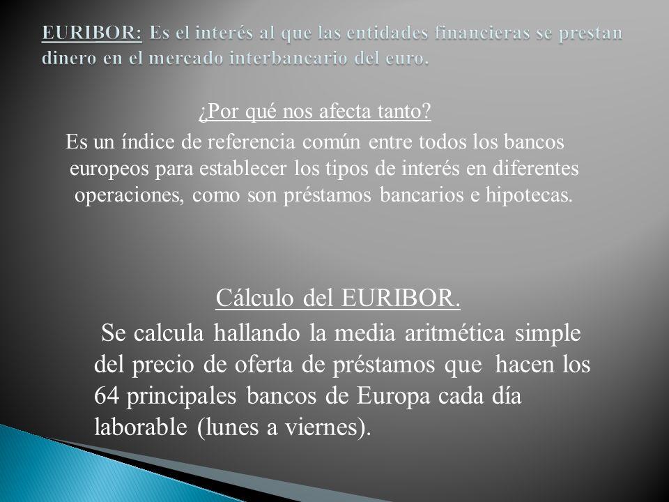 EURIBOR: Es el interés al que las entidades financieras se prestan dinero en el mercado interbancario del euro.
