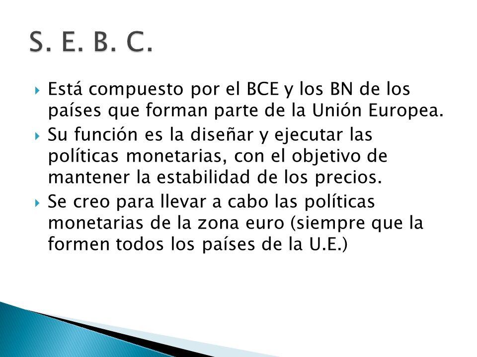 S. E. B. C. Está compuesto por el BCE y los BN de los países que forman parte de la Unión Europea.