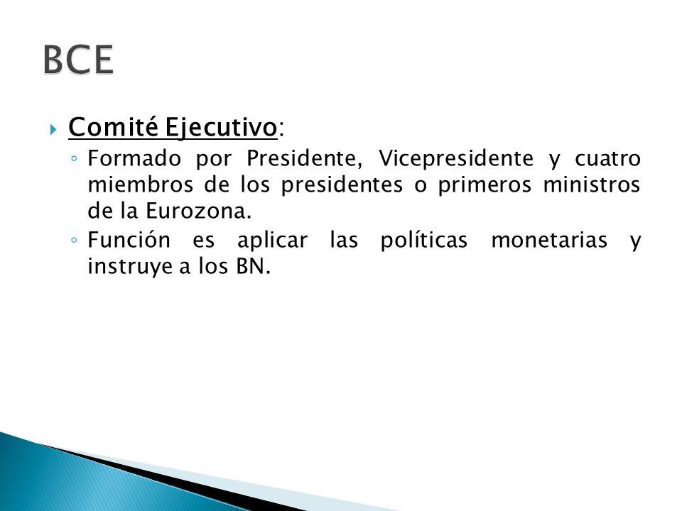 BCE Comité Ejecutivo: Formado por Presidente, Vicepresidente y cuatro miembros de los presidentes o primeros ministros de la Eurozona.