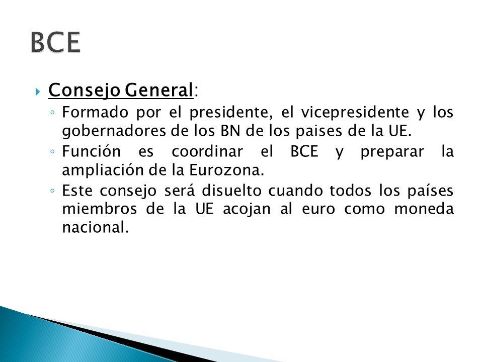 BCE Consejo General: Formado por el presidente, el vicepresidente y los gobernadores de los BN de los paises de la UE.