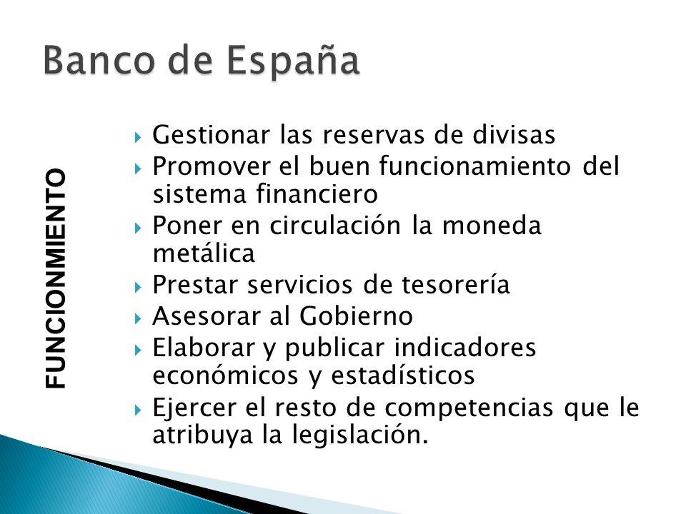 Banco de España FUNCIONMIENTO Gestionar las reservas de divisas