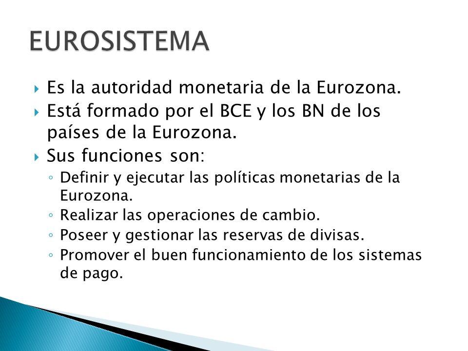 EUROSISTEMA Es la autoridad monetaria de la Eurozona.