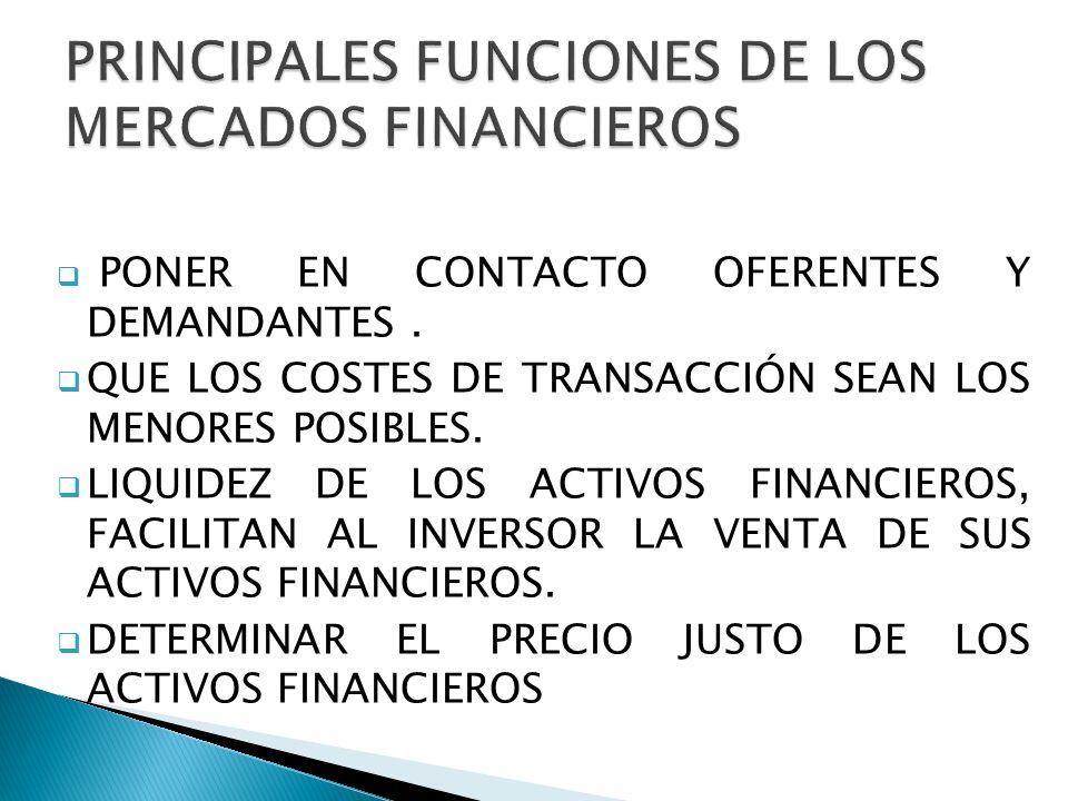 PRINCIPALES FUNCIONES DE LOS MERCADOS FINANCIEROS