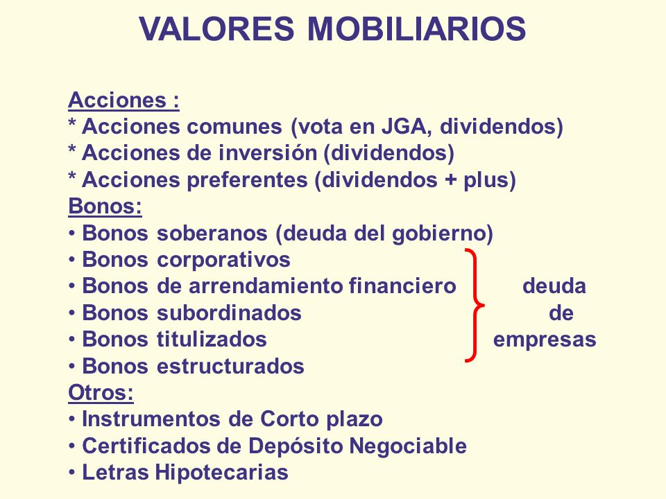 VALORES MOBILIARIOS Acciones :