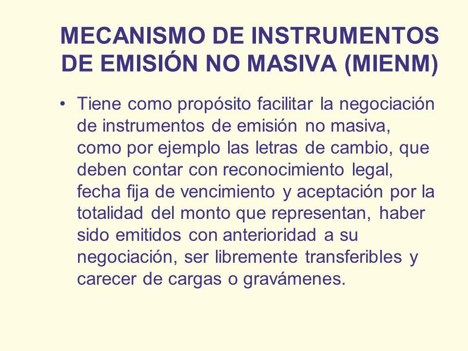 MECANISMO DE INSTRUMENTOS DE EMISIÓN NO MASIVA (MIENM)
