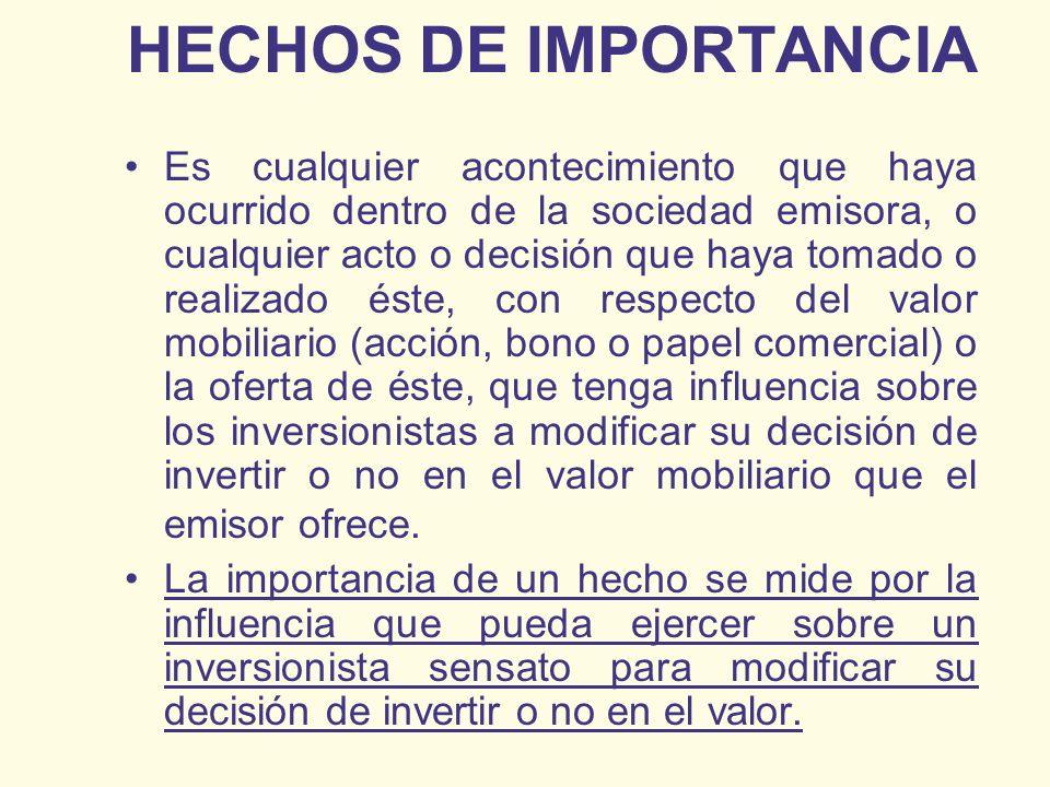 HECHOS DE IMPORTANCIA