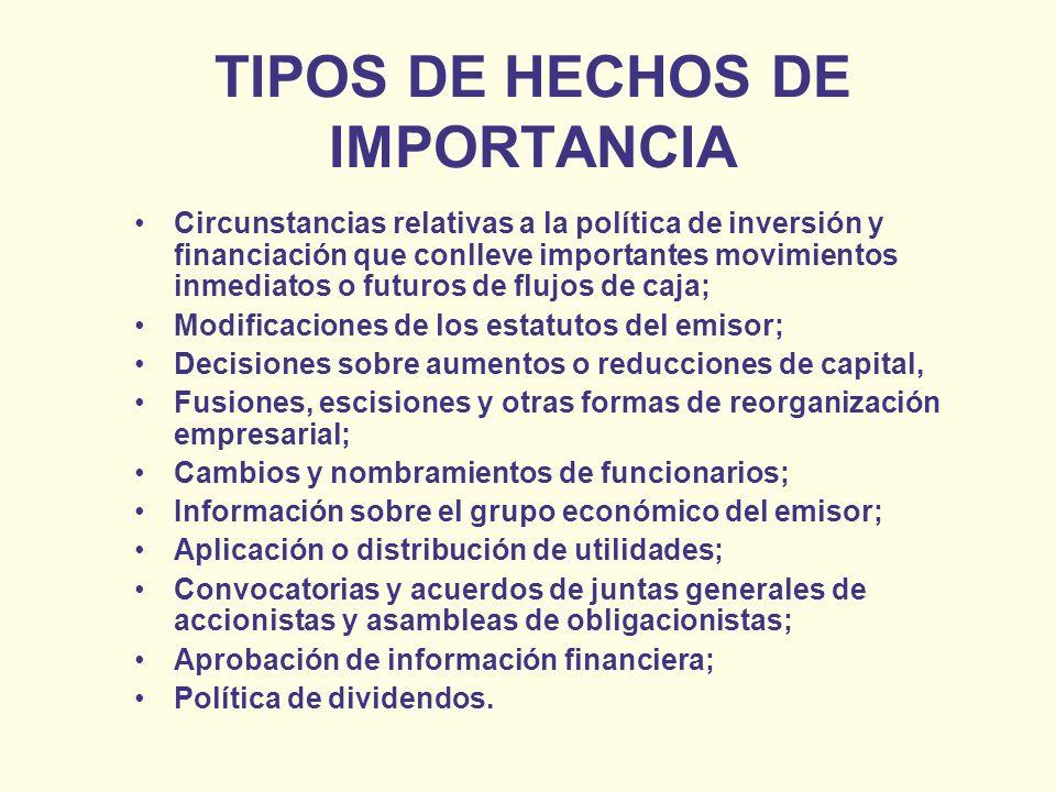 TIPOS DE HECHOS DE IMPORTANCIA