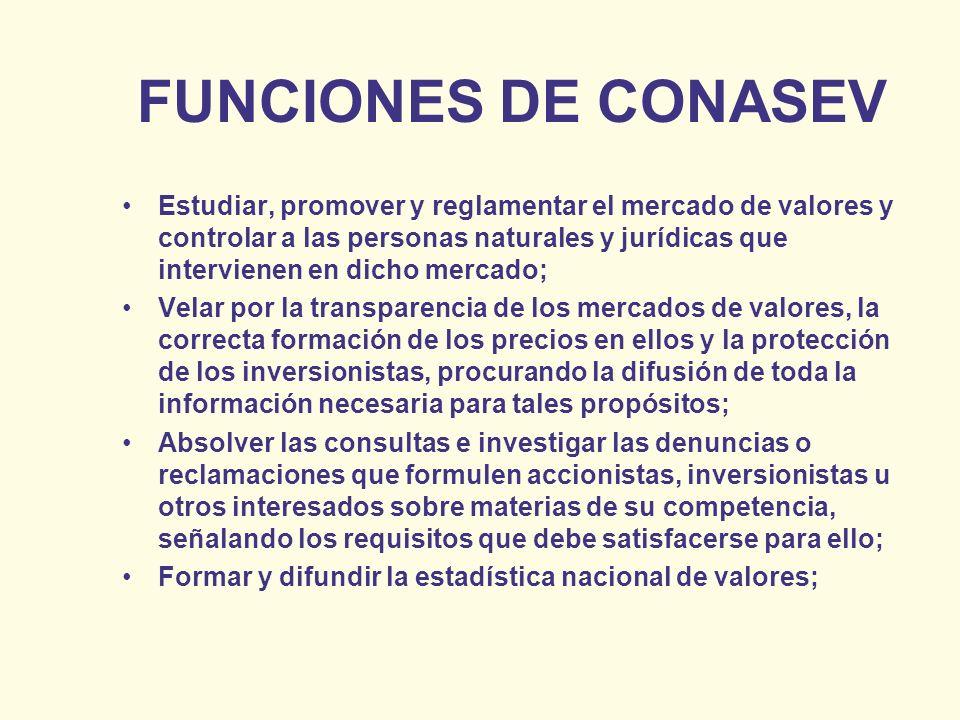 FUNCIONES DE CONASEV