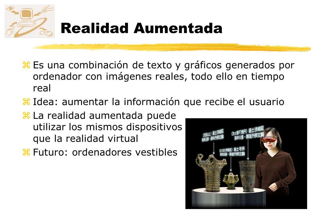 Realidad Aumentada Es una combinación de texto y gráficos generados por ordenador con imágenes reales, todo ello en tiempo real.