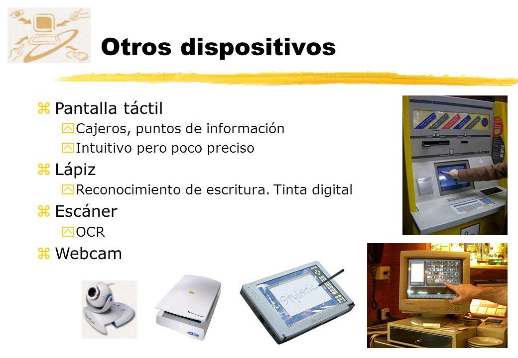 Otros dispositivos Pantalla táctil Lápiz Escáner Webcam