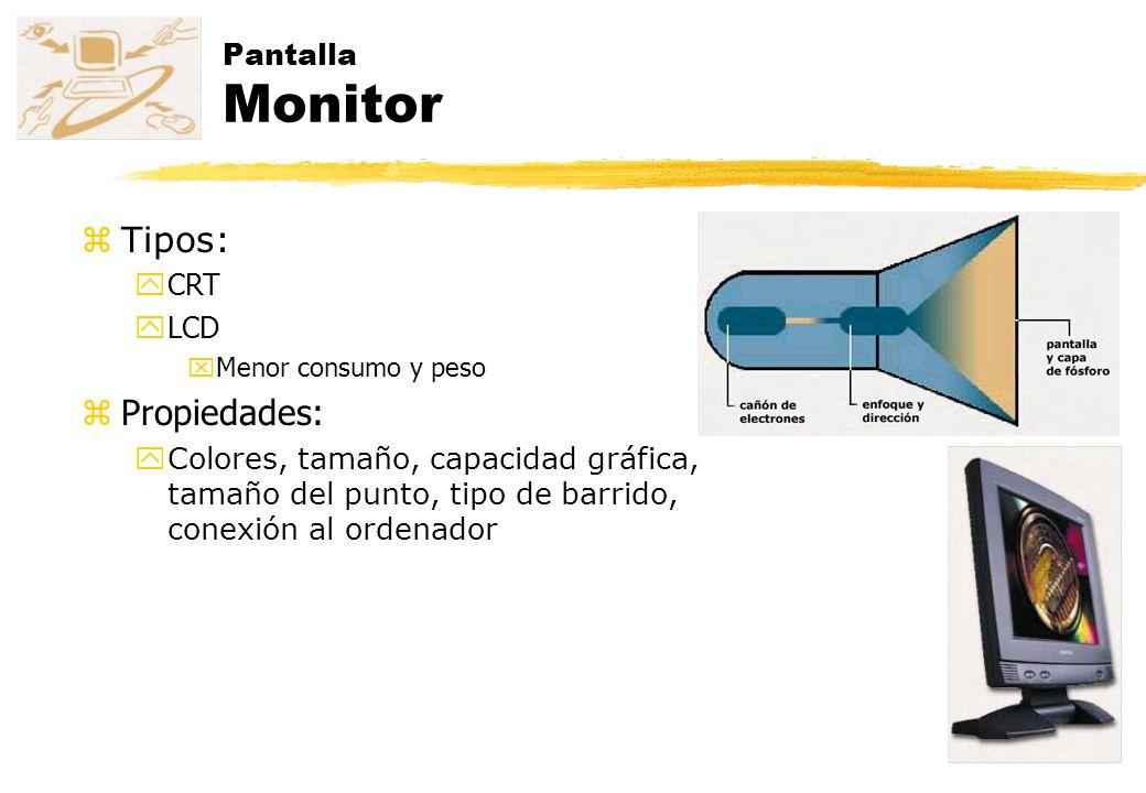Tipos: Propiedades: Pantalla Monitor CRT LCD