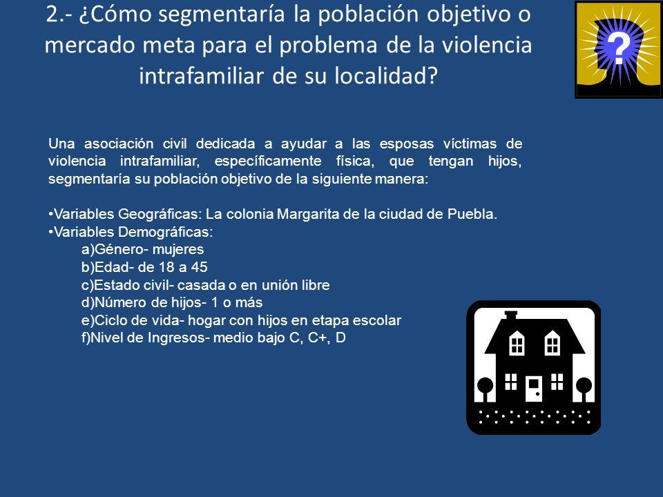 2.- ¿Cómo segmentaría la población objetivo o mercado meta para el problema de la violencia intrafamiliar de su localidad