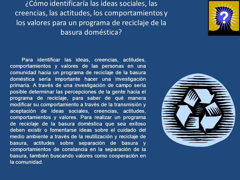 ¿Cómo identificaría las ideas sociales, las creencias, las actitudes, los comportamientos y los valores para un programa de reciclaje de la basura doméstica