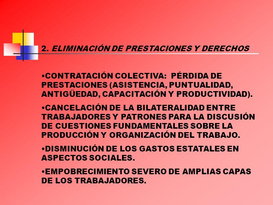2. ELIMINACIÓN DE PRESTACIONES Y DERECHOS