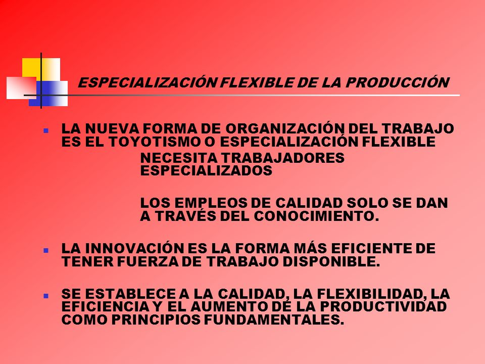 ESPECIALIZACIÓN FLEXIBLE DE LA PRODUCCIÓN