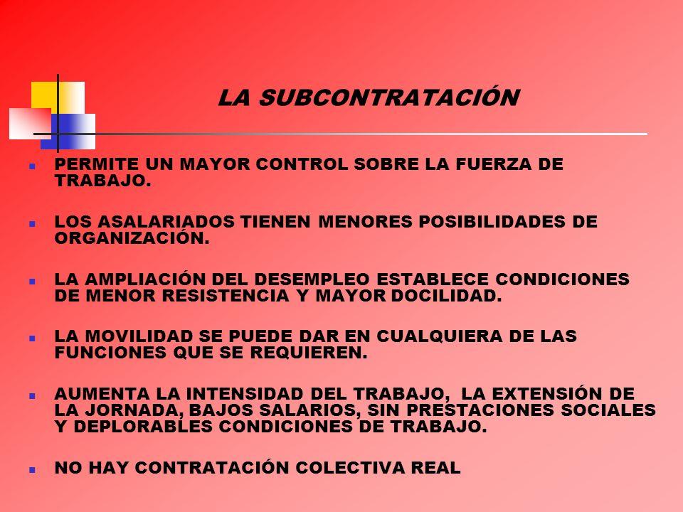 LA SUBCONTRATACIÓN PERMITE UN MAYOR CONTROL SOBRE LA FUERZA DE TRABAJO. LOS ASALARIADOS TIENEN MENORES POSIBILIDADES DE ORGANIZACIÓN.
