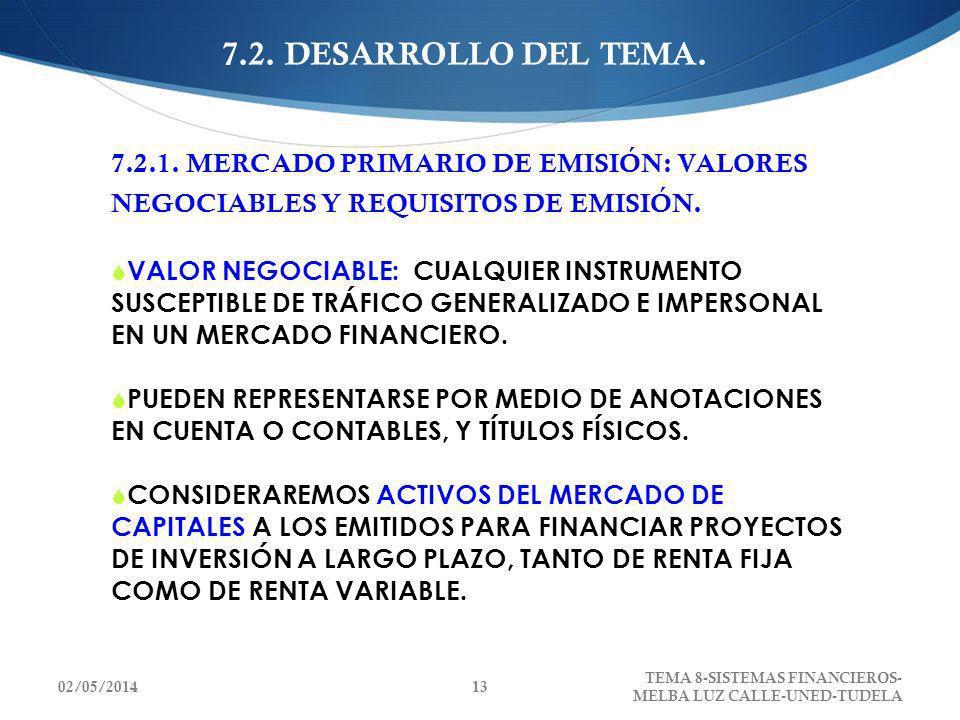 7.2. DESARROLLO DEL TEMA.7.2.1. MERCADO PRIMARIO DE EMISIÓN: VALORES NEGOCIABLES Y REQUISITOS DE EMISIÓN.
