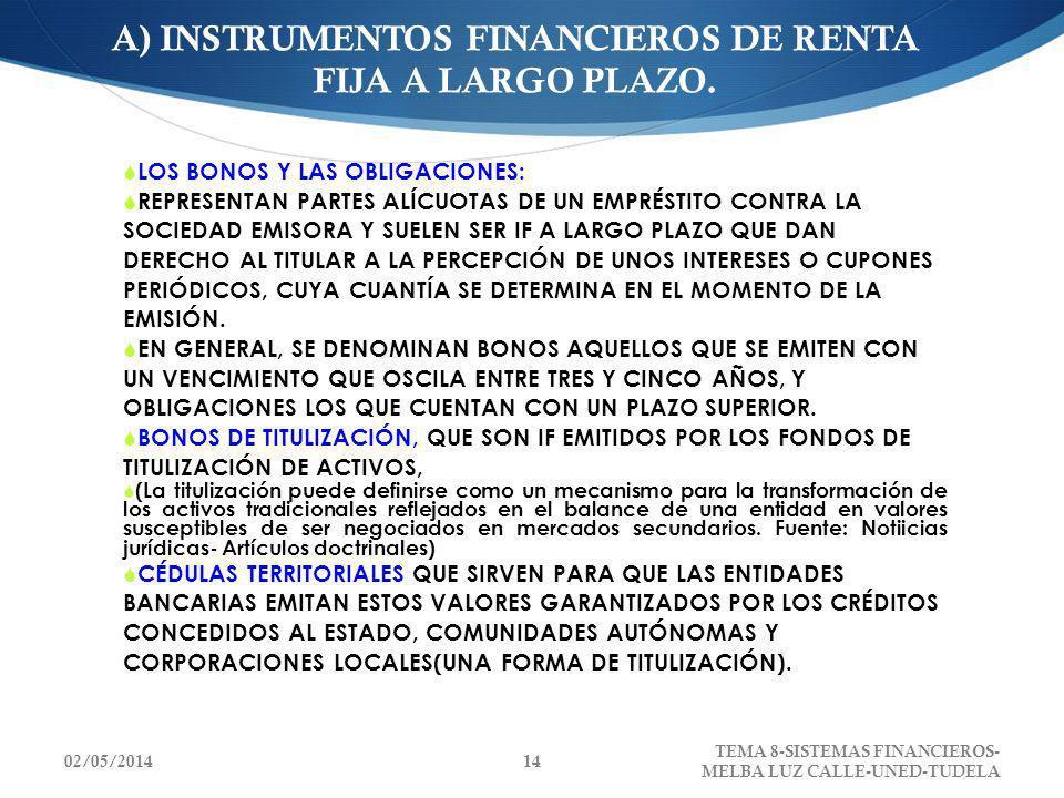 A) INSTRUMENTOS FINANCIEROS DE RENTA FIJA A LARGO PLAZO.