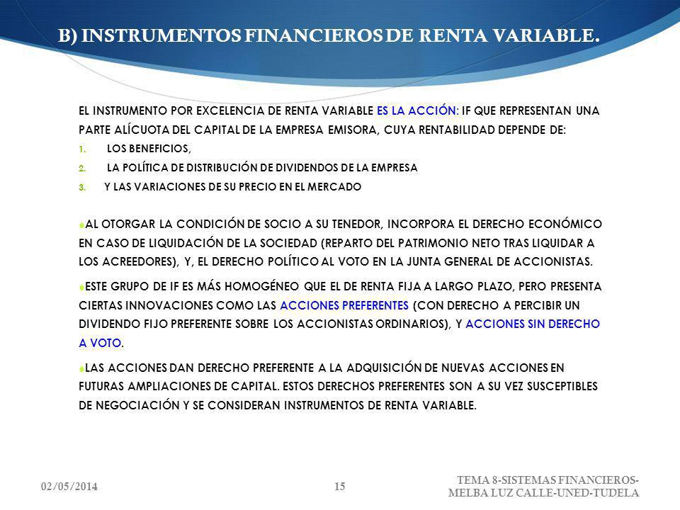 B) INSTRUMENTOS FINANCIEROS DE RENTA VARIABLE.