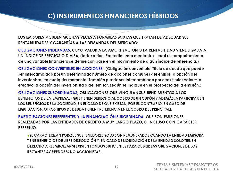 C) INSTRUMENTOS FINANCIEROS HÍBRIDOS