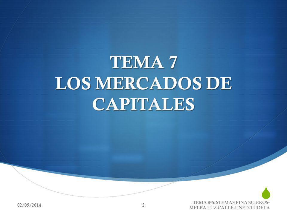 TEMA 7 LOS MERCADOS DE CAPITALES