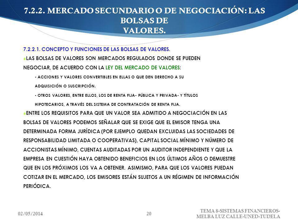 7.2.2. MERCADO SECUNDARIO O DE NEGOCIACIÓN: LAS BOLSAS DE VALORES.