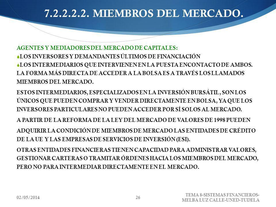 7.2.2.2.2. MIEMBROS DEL MERCADO.AGENTES Y MEDIADORES DEL MERCADO DE CAPITALES: LOS INVERSORES Y DEMANDANTES ÚLTIMOS DE FINANCIACIÓN.